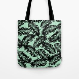 Palm Frond Tropical Décor Leaf Pattern Black on Mint Green Tote Bag