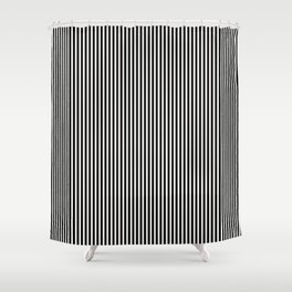 Simple Black & White Licorice Cabana Stripe Shower Curtain
