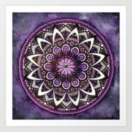 Crown Chakra Purpe Mandala Art Print