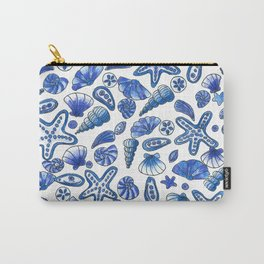 White and blue seashells Carry-All Pouch