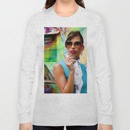 Woman and graffitti Long Sleeve T-shirt