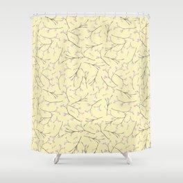 Sakura - Cherryblossom Branches on yellow Pattern Shower Curtain