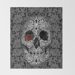 lace floral skull Throw Blanket