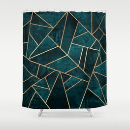 Deep Teal Stone Shower Curtain