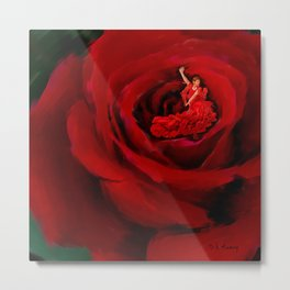 Dancing in the Red Rose Metal Print