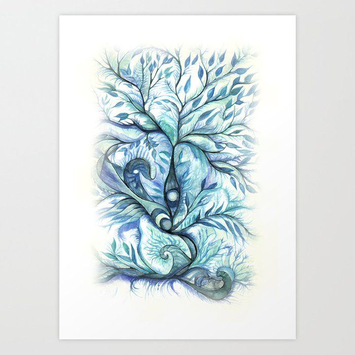Tree of Life (blues) Art Print