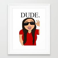 the dude Framed Art Prints featuring DUDE. by Citizen Pulp