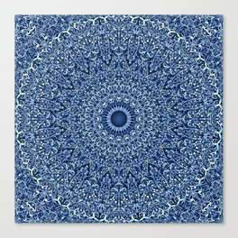 Sacred Blue Garden Mandala Canvas Print