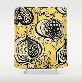 Black and Yellow Floral Shower Curtain