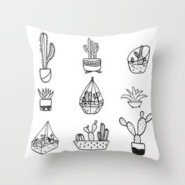 Minimalist Cacti Collection Black and White Throw Pillow