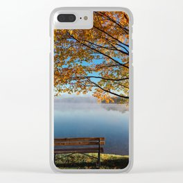 Autumn bench by the lake Clear iPhone Case