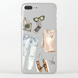 watercolor sketch. fashion outfit, casual style. Clear iPhone Case