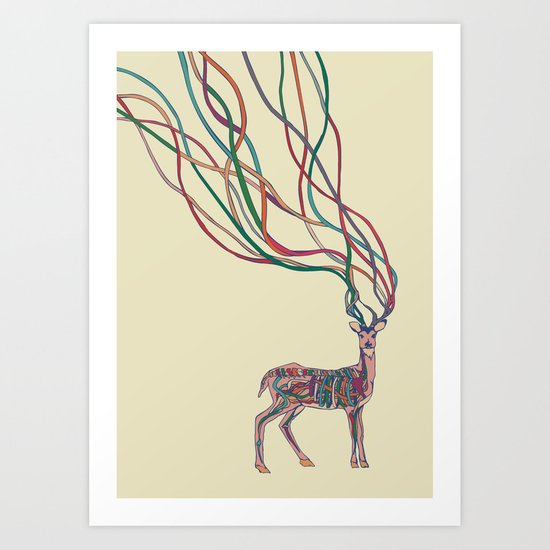 Deer Ribbons Art Print