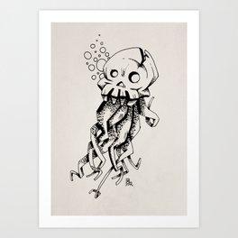 Space Skull Octopus Monster Art Print