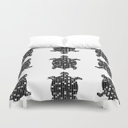 Geometric turtle black and grey Duvet Cover