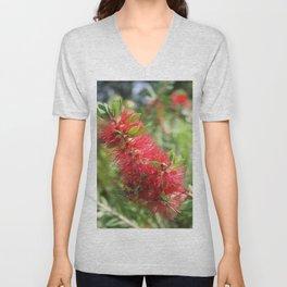 Calliandra Haematocephala Red Powderpuff  Unisex V-Neck
