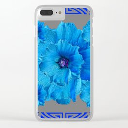 DECO BLUE HOLLYHOCKS PATTERN GREY ABSTRACT ART Clear iPhone Case