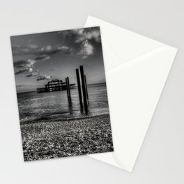 West pier in black and white Stationery Cards