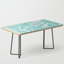 Chinoiserie Panels 1-2 White Scene on Teal Raw Silk - Casart Scenoiserie Collection Coffee Table