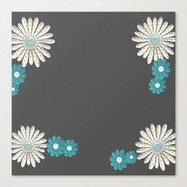 Gray,blue flowers Canvas Print