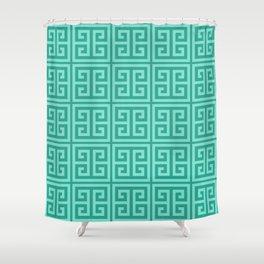 Mermaid Blue Greek Key Pattern Shower Curtain