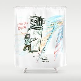 """I Wuv you Robot"" Shower Curtain"