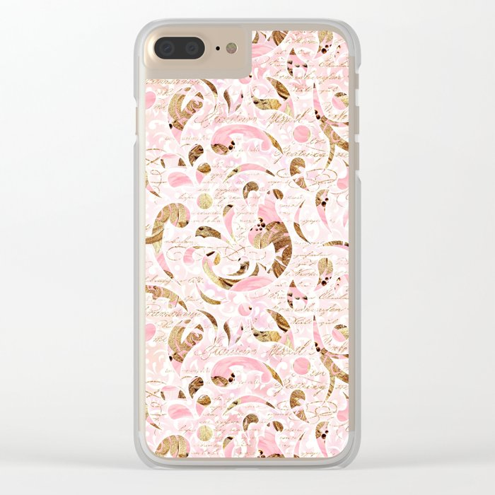 Pink Brown Swirls Clear iPhone Case