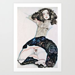 Egon Schiele - Black-Haired Girl with Lifted Skirt - Digital Remastered Edition Art Print