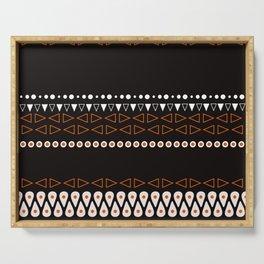 Bohemian orange, black&white tribal minimalistic pattern Serving Tray