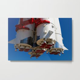 Cluster Of A Vintage Space Rocket Engines Against The Blue Sky Metal Print