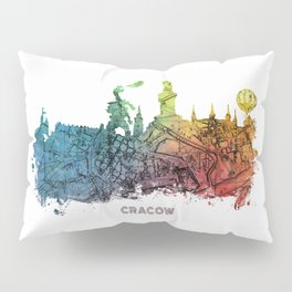 Cracow City Skyline  map #krakow #cracow Pillow Sham