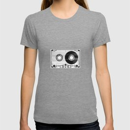 1980's Retro Black-White Vintage 80's Cassette Eighties Technology Art Print Home Decor Wall Decor T-shirt