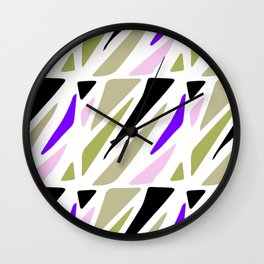 Hand painted abstract pink violet green geometric pattern Wall Clock