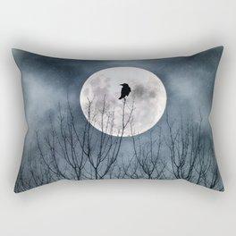 Night Raven Lit By The Full Moon Rectangular Pillow