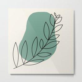 green boho branch Metal Print