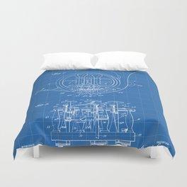 French Horn Patent - Horn Player Art - Blueprint Duvet Cover