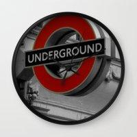 velvet underground Wall Clocks featuring Underground by itsthezoe