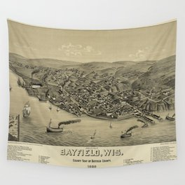 Vintage Pictorial Map of Bayfield WI (1886) Wall Tapestry