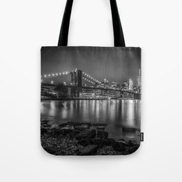 Nightly Stroll along the East River | Monochrome Tote Bag