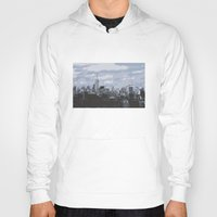 new york skyline Hoodies featuring New York Skyline by Thee Xelerator
