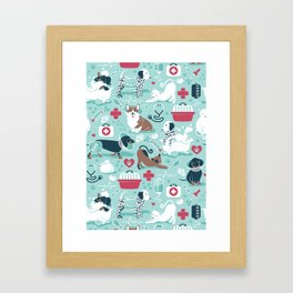 Veterinary medicine, happy and healthy friends // aqua background Framed Art Print