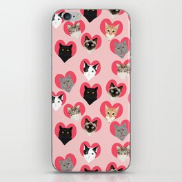Cat faces love hearts valentines day gifts for cat lovers must have cats iPhone Skin
