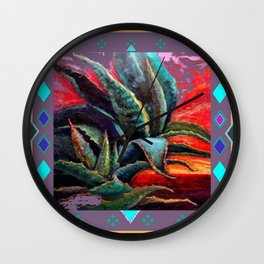 PUCE GREY ART DECO SOUTHWEST DESERT AGAVE Wall Clock