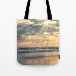 Rays From Above sun rays on Cayucos Beach Tote Bag