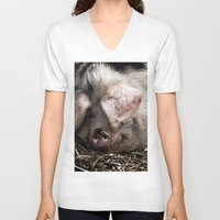 pigs V-neck T-shirts featuring Pigs Head by Goncalo