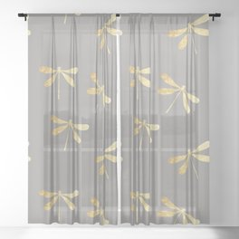 dragonfly pattern: gold & grey Sheer Curtain