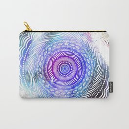 Modern Mandala Spiral Galaxy Space Textured Multi Colored / Purple Pink Orange Gray Black Carry-All Pouch