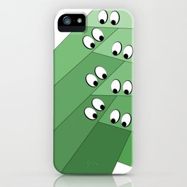 Green eating monsters design iPhone Case