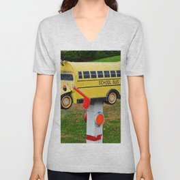 School Bus Mailbox Unisex V-Neck