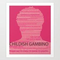 childish gambino Art Prints featuring Childish Gambino by bergertime